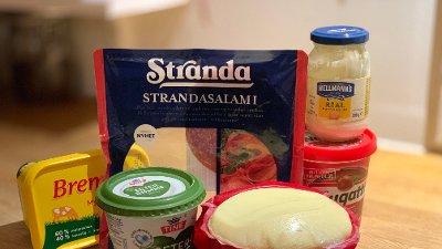 Kalorier mat salami smør majones ost rømme nugatti
