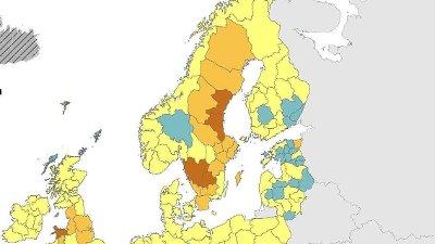 Det nye Europa-kartet fra ECDC torsdag viser at Värmland er friskmeldt og at Västmanland også har kommet ned under 20 smittetilfeller per 100.000 innbyggere. I Sør-Sverige derimot har flere regioner hatt en negativ utvikling.