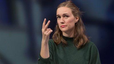 NY AUF-LEDER: Ina Libak i aksjon under ungdomspartilederdebatten under Arendalsuka i august i år