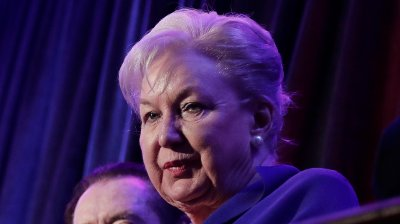 FILE - In this Nov. 9, 2016 file photo, federal judge Maryanne Trump Barry, sister of Donald Trump, sits in the balcony during Trump's election night rally in New York. Barry has retired as a federal appellate judge in Philadelphia, ending a misconduct inquiry launched after a report that she participated in Trump family schemes to dodge taxes. Her retirement was revealed in an April 1, 2019 order signed by a top court official in New York, where the misconduct case was assigned.