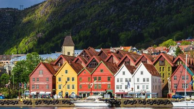 View of Bergen harbor and Bryggen waterfront with Mount Floyen in the background, Norway Bergen - Norway, Bryggen, Europe, Hordaland County, Nordic Countries