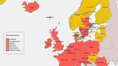 RØDE OG GULE LAND: Regjeringen og Utenriksdepartementet endrer reiserådene for nordmenn fra 5. september etter råd fra Folkehelseinstituttet. Da blir blant annet Italia og Slovenia ført opp som rødt land - med karanteneplikt, mens Kypros og flere regioner i Sverige blir gule.