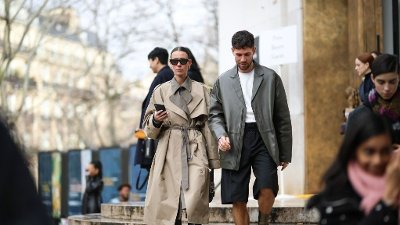 Street Style - Paris Fashion Week - Womenswear Fall/Winter 2020/2021 : Day Seven PARIS, FRANCE - MARCH 01: Alice Barbier and Jean-Sebastien Roques are seen wearing outside the Akris show during Paris Fashion week Womenswear Fall/Winter 2020/2021 Day Seven on March 01, 2020 in Paris, France.