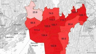 Slik er smittetrykket i Oslo nå. Tallene viser smittetilfeller per 100.000 innbyggere siste 14 dager i de ulike bydelene.