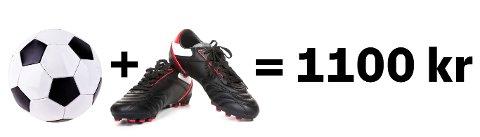 ENKEL MATEMATIKK: Når fotballskoene koster 1000 kroner mer enn fotballen, hva koster da fotballen?