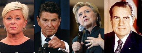 Politikere med dårlig hukommelse: Siv Jensen, Ronald Reagan, Hillary Clinton, Richard Nixon Foto: Ap/Scanpix