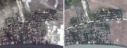 Satellittbilder tatt før og etter den påståtte massakren i landsbyen Gu Dar Pyin. Bildet til venstre er tatt 27.05.17. Bildet til høyre er tatt 20.12.17.