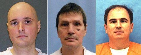 Thomas Whitaker (t.v.), Doyle Lee Hamm og Eric Scott Branch skulle alle vært henrettet i USA torsdag. Whitakers straff ble i siste øyeblikk omgjort til livsvarig fengsel, mens Hamms henrettelse er utsatt. Branch ble henrettet i et fengsel i byen Starke i Florida.
