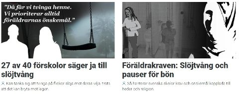 DÅ FÅR VI TVINGA HENNE: Faksimile fra Gøteborgs-Postens oppslag om hijab og sosial kontroll.