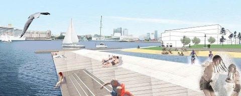 Ytterst på Sørenga, med byen i bakgrunnen blir det strandlinje, svømmebasseng, brygge og sitteplasser neste år.