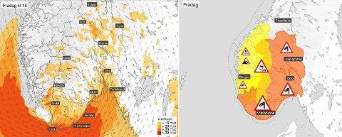 Farenivået er hevet til rødt i flere fylker og meteorologene forventer full storm og bølger på opp til sju meter i Oslofjorden. Folk bør holde seg inne.