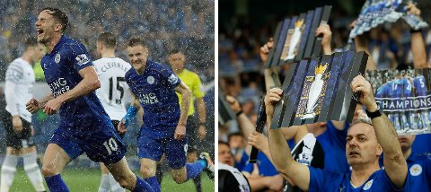 PERFEKT: Yndlingen Andy King (til venstre) og toppscorer Jamie Vardy sørget for at Leicester kunne feire Premier League-tittelen foran hjemmefansen med seier mot Everton.