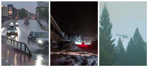 KOSTBART KLIMA: Kraftig nedbør, snøfall, tørke og uvær har gjort at Agder-fylkene trapper opp innsatsen for økt forsyningssikkerhet. Bildene viser (fra venstre) styrtregn i Kristiansand i mai i år, strømløst på Vennesla etter kraftig snøfall i januar 2018 og skogbrann på Vindslandsheia mellom Birkeland og Grimstad i juli 2018.