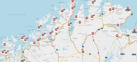 STENGT: Mange veistrekninger i Nord er stengt mandag morgen.