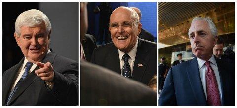 Newt Gingrich, Rudy Giuliania og Bob Corker blir nevnt i spekulasjonene rundt toppjobber i Trump-administrasjonen.