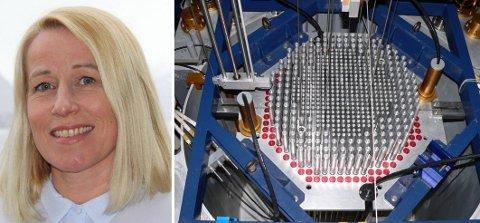 Illustrasjonsfoto: Kjernen i et lite kjernekraftverk brukt til tester hos EPFL i Sveits. Til venstre: Stortingsrepresentant Marianne Synnes Emblemsvåg (H).