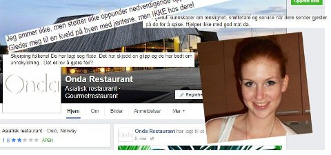 Katrine Bollman (innfelt) fortalte om episoden hun hadde på restauranten på Aker Brygge. Hendelsen har vekket sterke reaksjoner på restaurantens Facebookside.