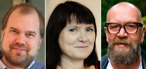 OPPGJØR: Norsk Industris Gunnar Grini, Trine Dyrstad Pettersen fra Byggevareindustriens forening og Olaf Brastad i Bellona mener den dystre rapporten om Norges ressursbruk ikke holder mål.