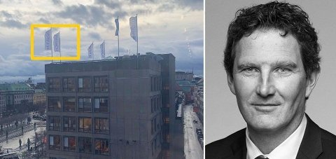 OVERTOK HAMILTON: Fra nyttår ble norske Schjødts logoflagg heist i paradegaten Hamngatan i Stockholm. – Vi har fått det jeg vil kalle en «flying start», sier Schjødt-partner Ole G. Klevan.