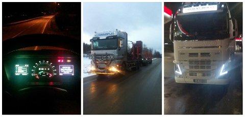 STANSER I PROTEST: De siste dagene har flere norske tungtransportsjåfører stått stille 15 minutter hver dag i veikanten. Her er noen av bildene som er lagt ut på sosiale medier om aksjonen.