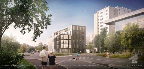 PLANENE: Slik kan et kontorbygg mot Langbølgen bli seende ut, (bygget til venstre).