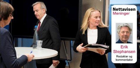 LEGGER SEG FLATE: Både arbeids og sosialminister Anniken Hauglie, (th), NAV-direktør Sigrun Vågeng og riksadvokat Tor-Aksel Busch legger seg flate.