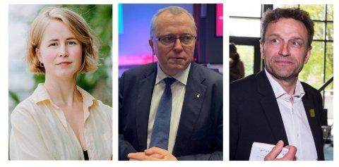 FÅR GJENNOMGÅ: Anja Bakken Riise i Fremtiden i våre hender (til venstre) og Arild Hermstad i MDG (til høyre) langer ut mot oljeproduksjonen til Equinor og Eldar Sætre (i midten).