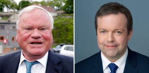 John Fredriksen og toppsjef Alf-Helge Aarskog i oppdrettselskapet Mowi.