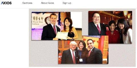 Den angivelige spionmistenkte Christina Fang avbildet med en rekke amerikanske politikere. Bildet øverst til venstre viser henne sammen med Eric Swallwell under en studenttilsetning i 2012. Axios har hentet bildene fra Fangs tidligere Facebook-konto.