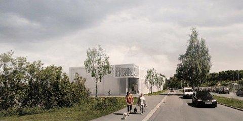 NYTT ANLEGG: Slik vil skatehallen fremstå i foreliggende plan. Illustrasjonen viser hallens utkraging mot Stavangergata, samt utkraging mot ny avkjørsel til planområdet.