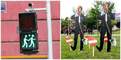 PYNTER BYEN: Wien legger ikke skjul på at Eurovision-sirkuset har inntatt byen. Flere av trafikklysene i byen har blant annet blitt byttet ut med homo-vennlige varianter. Foto: Katinka Sletten / Nettavisen