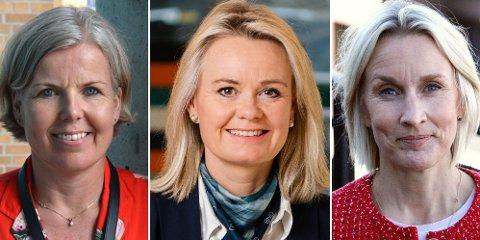 MER UTLÅN: Bankene får flere søknader om lån og låner ut mer enn tidligere. Fra venstre: SR-Banks Elisabeth Gilje Pedersen, DNBs Ingjerd Blekeli Spiten og Nordeas Randi Marjamaa.