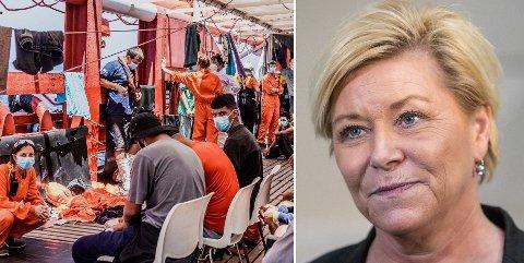 KRAFTIG SKYTS: Siv Jensen har sett seg lei på Ocean Vikings virksomhet i Middelhavet som hun mener bidrar til menneskesmugling