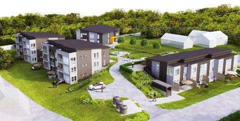 BOLIGTUN: Boligprosjektet Langerudåsen Gamle Enebakkvei 40-42. Tall for april viser lavere salg for nye boliger. ILLUSTRASJON: BLOCK WATNE