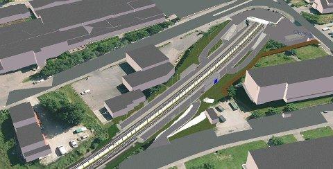 NY ADKOMST: Oppsal stasjon får en ekstra adkomst fra Oppsalhjemmet. Sporveien har også prosjektert en ny gangbro over sporområdet, men har ikke råd til å bygge den nå. Illustrasjon: Sporveien