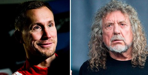 Fotballspilleren Morten Gamst Pedersen og Led Zeppelin-vokalisten Robert Plant er ifølge Lasse jangås født og nødt til å gjøre det de gjør. Foto: Trond Reidar Teigen / NTB scanpix ogFred Tanneau / AFP Photo. Montasje: Nettavisen