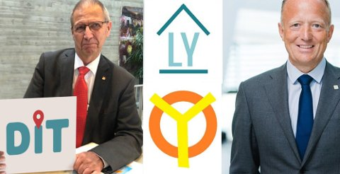 """Flere offentlige selskaper har brukt 1. april til å ha det moro med navnebyttet til NSB til Vy. Her ser vi Terje Moe Gustavsen i Statens vegvesen med den nye logoen til """"Dit"""", Statsbygg-sjef Harald Vaagaaser Nikolaisen med LY - og den nye logoen til Oy."""