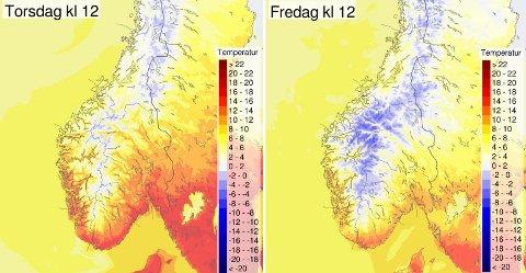 STOR FORSKJELL: Disse bildene viser en stor temperaturforskjell fra torsdag til fredag i Sør-Norge.