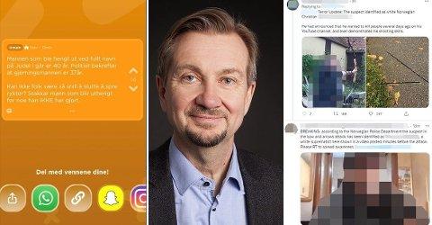 STRAFFBART: Bilder av menn som IKKE var involvert i drapene i Kongsberg har spredd seg som ild i tørt gress i sosiale medier. Dette advarer Trygve Aas Olsen sterkt i mot.