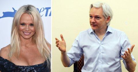 NYTT PAR: Tidligere skuespiller og skuespiller, og nå dyrevernsaktivist Pamela Anderson har funnet tonen med Wikileaks-grunlegger Julian Assange.