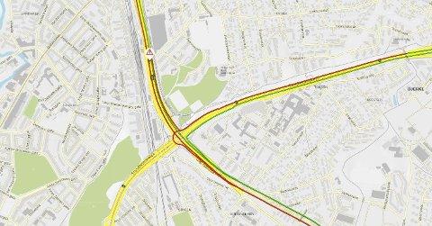 Det oppsto trafikale problemer etter ulykken på ring 3 ved Sinsen i Oslo fredag ettermiddag.