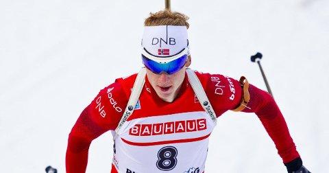 VANT: Johannes Thingnes Bø vant sprinten i Kontiolahti torsdag ettermiddag. Foto: Vegard Grøtt / NTB scanpix