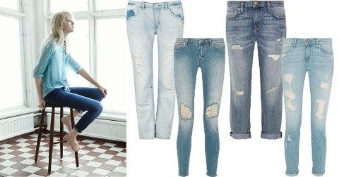 Hullete, lyseblå, ankellange og opprullede er noen av stikkordene for årets jeanstrender.