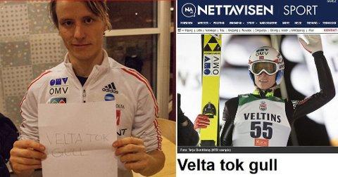 TRAFF BLINK: Han er kanskje ikke en tabloidkunstens mester, men Rune Velta melder nyheter før de skjer. Denne forsiden laget han på oppfordring fra Nettavisen FØR verdensmesterskapet i Falun.