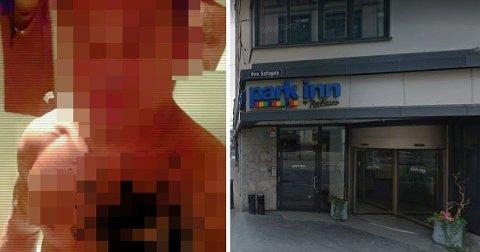 I nærmere et og et halvt døgn ble en kvinne mishandlet og voldtatt av den nå domfelte mannen (til venstre i bildet) på dette hotellet i Oslo sentrum.