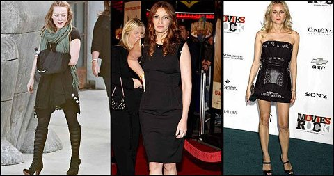 DEN LILLE SORTE: Hilary Duff går for en avslappet variant, Julia Roberts i en klassisk liten sort kjole og Diane Kruger i en superkort tubekjoe med skimrende detaljer.