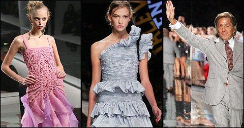 GIR SEG: Valentino er kjent for sine ekstravagante kjoler. Her er han under pret-a-porter moteuken i høst.