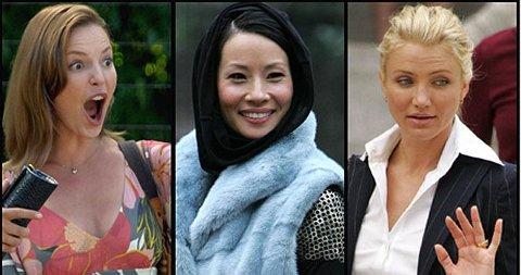 FANCY KOSTYMER: Katherine Heigl, Lucy Liu og Cameron Diaz ser alltid bra ut på film - se deres kostymer nederst i saken.