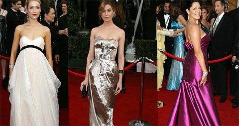 KJOLEFINE: Katrina Bowden, Ellen Pompeo og Sarah Ramirez på Sag Awards.
