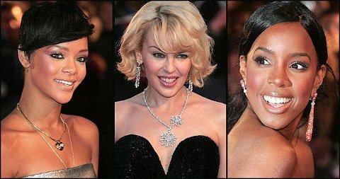 KORT PÅ DEN RØDE LØPER: Rihanna, Kylie Minogue og Kelly Rowland kom i glitrende korte kjoler på Brit Awards.